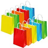 Cooraby 20 Pieces Paper Party Bags Gift Bag Kraft Bag with Handle for Birthday, Tea Party, Wedding and Party Celebrations, Multicolour (Color B)