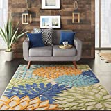 Nourison Aloha Indoor/Outdoor Floral Blue Multicolor 5'3' x 7'5' Area Rug (5'x8')