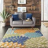 Nourison Aloha Indoor/Outdoor Floral Blue Multicolor 5'3' x 7'5' Area Rug (5'x8')