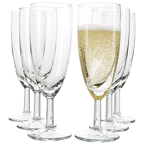 Van Well - Set di 6 bicchieri da spumante Royalty Standard, 18 cl, diametro 50 mm, altezza 160 mm, flûte da spumante, calice, champagne e bicchiere da prosecco per feste, trasparente