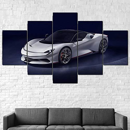 IMXBTQA Premium Canvas Art Print Wall Deco Xxl Giclee Canvas Print, Wall Art Canvas Picture 5 Pieces,Pininfarina Battista Super Car Canvas Picture Framed Canvas Painting 175X80Cm