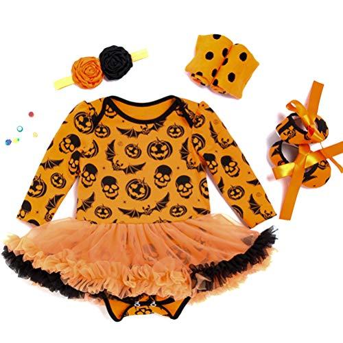 Amosfun - Costume da Zucca per Bambina, con Collana, Calzini e Gonna, per Cosplay
