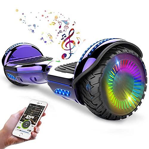 RangerBoard Hoverboard Enfant - 6,5' - Bluetooth - LED - Self Balancing Board Adulte - 700W - Smart Scooter Deux Roues - Skate Électrique Cadeaux Pas Cher - Certifié CE UL2272 - Violet Chromé