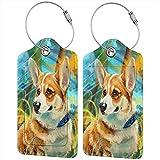 Hunde Corgi Tiere - Juego de etiquetas de piel para maleta de viaje