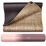 Ajna Eco Organic Yoga Mat - Natural Jute Yoga Mats - Large Non Slip - Reversible Jute PER - Carrying Strap - Extra Long Yoga Mat 72 Inch - 5mm - All Yoga - Vegan
