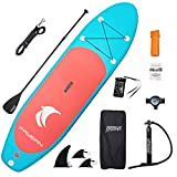 FAYEAN Inflatable Stand Up Paddle Board Round Board 10'30'6' Thick Includes Pump, Paddle, Backpack, Coil Leash,Fin and Universal Waterproof Case