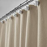 mDesign Hotel Quality Polyester/Cotton Blend Fabric Shower Curtain with Waffle Weave and Rust-Resistant Metal Grommets for Bathroom Showers and Bathtubs - 72' x 72' - Dark Khaki