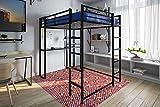 DHP 5457196 Abode Full-Size Loft Bed Metal Frame with Desk and Ladder, Black