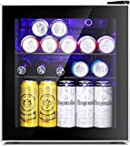 Antarctic Star Mini Fridge Cooler - 70 Can Beverage Refrigerator Glass Door for Beer Soda or Wine – Glass Door Small Drink Dispenser Machine Clear Front Removable for Home, Office or Bar, 1.6cu.ft
