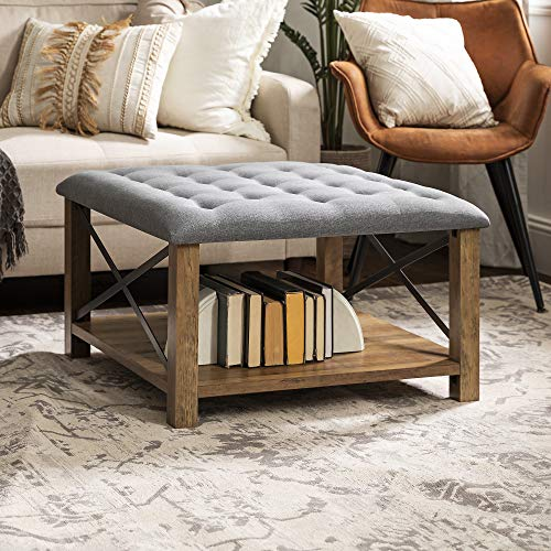 Walker Edison Tufted Upholstered Fabric Ottoman Stool Living Room Foot Rest Coffee Table Storage Shelf, 30 Inch, Grey