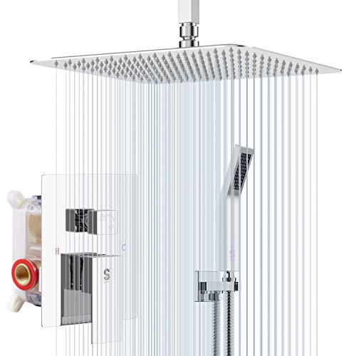 SR SUN RISE SRSH-C1003 Ceiling Mount Bathroom Luxury Rain Mixer Shower Combo Set Rainfall Shower Head System 10 Inch Polished Chrome (Contain Shower Faucet Rough-In Valve Body and Trim)