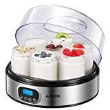 Yogurt Maker - AICOOK Automatic Digital Yogurt Maker Machine with Timer Control & LCD Display, Includes 7 Glass Jars 47 oz and Setting Lids for Instant Storage, Stainless Steel Body