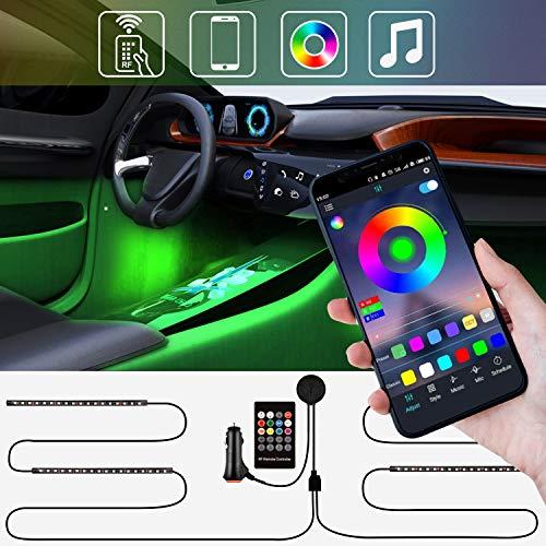 Zethot luci interne per auto, striscia LED per auto aggiornate a due linee impermeabili 4 pezzi 72 LED per varie auto, DC 12V, con APP e telecomando RF