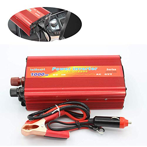 AllExtreme EXCIPA1 Car Inverter 1000W DC to AC Power Adapter SUV Battery Charger DC-AC Converter with USB Port & 3 Pin Plug