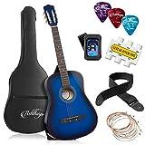 Ashthorpe 38-inch Beginner Acoustic Guitar Package (Blue), Basic Starter Kit w/Gig Bag, Strings, Strap, Tuner, Pitch Pipe, Picks