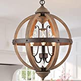 KSANA Farmhouse Wood Chandelier, Orb Chandelier with Crystals for Dining Room, Living Room, Bedroom