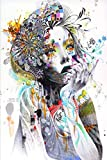 wZUN Impresiones en Lienzo de Arte niña con Flores Pintura de Arte de Lienzo Abstracto en decoración de Carteles de Pared 60x80cm Sin Marco