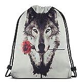 GeorgoaKunk Mochila con cordón Impresionante Wolf Rose 3D Print String Bag Mochila Cinch Tote Bags Regalos para Mujeres Hombres Gimnasio Compras Deporte Yoga