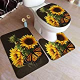 Butterfly Floral Sunflower Comfort Flannel Bathroom Rug Mats Set 3 Piece Soft Non-Slip with Backing Pad Bath Mat + Contour Rug + Toilet Lid Cover Absorbent