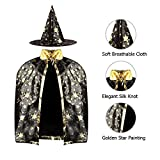 SKL Kids Halloween Costumes Witch Wizard Cloak with Hat Wizard Cape and Hat Child's Costume for Boys Girls Black