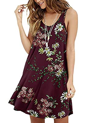 Material:95% Rayon,5% Spandex. Features:casual basic style,A-line silhouette,Floral Print,sleeveless,round neck,super soft,Occasion:casual/beach/party. Soft and stretchy jersey knit shapes this sleeveless, swing dress with a spoon collar and plain he...