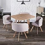 DecoInParis Ensemble Table + 4 chaises encastrables FLEN (Beige)