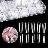 Ealicere 120 Pièces 10 tailles différentes faux ongles et capsules, capsule ongles Acrylique pour nail art long Artificiel Ongles avec boîte transparente faux ongles en acrylique