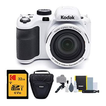 Kodak PIXPRO Astro Zoom AZ421 16MP Digital Camera (White) with Kodak 32GB SD Card and Focus DSLR Camera Accessory Bundle (3 Items)