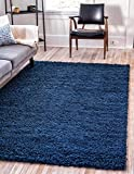 Unique Loom Solo Solid Shag Collection Modern Plush Navy Blue Area Rug (5' 0 x 8' 0)