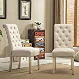 Roundhill Furniture Habit Solid Wood Tufted Parsons Dining Chair (Set...