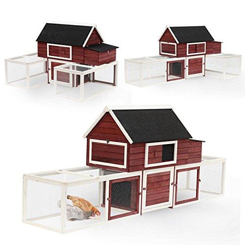 "PawHut 114"" Wooden Customizable Backyard Chicken Coops"