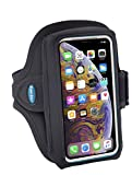 Tune Belt AB89 Cell Phone Armband Holder for iPhone 11 Pro, SE 2020, X/XS, Galaxy S9 S10e - Extra-Roomy Pocket Fits OtterBox / Large Case - Water Resistant Pouch for Running and Working Out