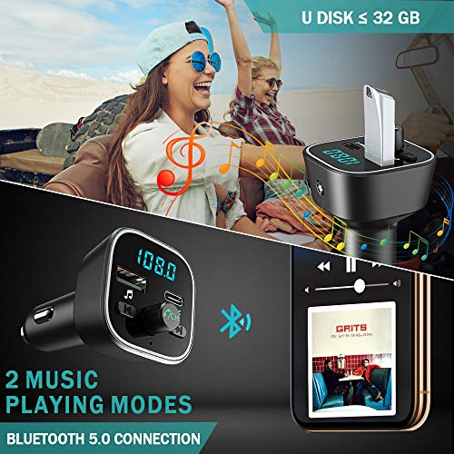 Product Image 4: COMSOON FM Transmitter for Car, Bluetooth Car Adapter with 7 Colors LED Backlight, Wireless Music Player Radio Transmitter Hands Free Car Kit with Type-C PD Quick Charging Port & USB Drive