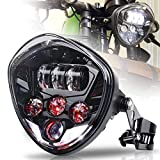 MOVOTOR Motorcycle Headlight 7inch with Bracket Clamp Red Background White DRL Hi/Low Beam for Universal Motorcycle Honda Yamaha Triumph Cafe Racer