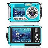 Fotocamera subacquea per snorkeling, fotocamera digitale impermeabile da 2,7 K 24 MP, fotocamera ricaricabile HD con doppio schermo per campeggio, subacquea, nuoto, fotocamera subacquea (Blu)