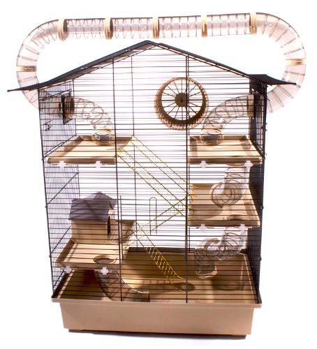 XXL Nagerkäfig Hamsterkäfig Mäusekäfig Haus inklusive gigantischem Röhrensystem beige schwarz