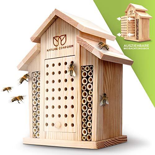 Nature Conform Insektenhotel Naturholz - Bienenhotel [BEOBACHTUNGSNISTKASTEN] Saubere Verarbeitung mit Bambusröhrchen | Nisthilfe Wildbienenhotel Garten und Balkon | Bienenhaus