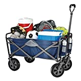 Tofasco Folding 4 Wheel Wagon Chariot Trolley Foldable Collapsible Cart (Navy Blue)