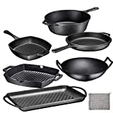 Pre Seasoned Cast Iron 7 Piece Bundle Gift Set, Multi Cooker, Rectangular grill Pan, Wok, Skillet, Square Grill Pan & Chainmail, Camping Cookware Set