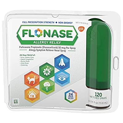One 120-spray bottle of Flonase Allergy Relief Nasal Spray, 24 Hour Non Drowsy Allergy Medicine, Metered Nasal Spray, stops your body from overreacting to allergens Containing the most prescribed allergy medication(2), Flonase relieves runny nose, sn...