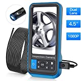 Teslong Inspection Camera, 8MM Dual Lens 4.5 inches Screen Endoscope-Borescope with 32GB Card, 16.4ft Waterproof Cable, 1080P Display Screen, 6 LED Lights, IP67 Waterproof