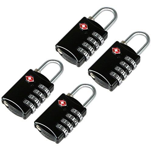 4 Noire Cadenas TSA avec Code à 4 Chiffres