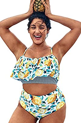 Printed, Ruffles, High waisted bottom. With removable padded bra to add shape The Pattern is One of a Kind - The Exact Pattern You Receive Will Be Slightly Different Than the One Shown. Garment Care: Regular Wash. Recommend with Cold Water. Do not Us...
