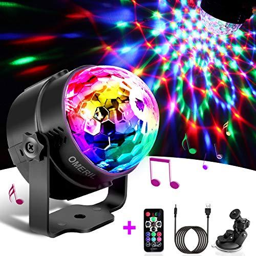 Luci Discoteca LED, OMERIL USB Alimentata Palla da Discoteca con 4M Cavo e Telecomando, Musica...