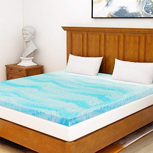 Mattress Topper Queen, Gel Memory Foam Mattress Topper for Queen Size Bed, 2 Inches