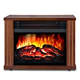 LIFEPLUS Electric Fireplace with 3D Realistic Flame Effect, Portable Fireplace Heater 2 Modes Setting, Overheating Safety Protection, Small Space Heater for Indoor Use, 1500w, Wood Frame