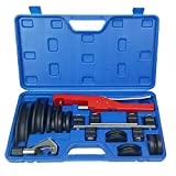 VOTOER Tube Pipe Bender Bending Kit Refrigeration Ratcheting Tubing Benders Hand Tool for Plumbing Copper Aluminum Pipe Spring Bending Tube Pipe, 1/4 to 7/8 Inch with Carry Case
