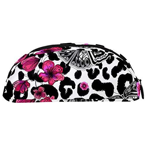 BENNIGIRY Astuccio portapenne con farfalle e fiori su pois leopardati, grande capacit, organizer da...