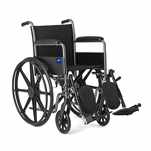 "Medline Comfort Driven Wheelchair with Full-length Arms and Elevating Leg Rests for Extra Comfort, 18"" Seat"