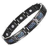 Feraco Magnetic Bracelet for Men with Unique Blue Carbon Fiber Titanium Steel Magnetic Therapy Bracelet for Arthritis Pain Relief